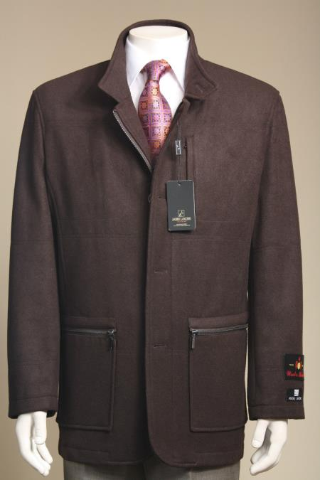 MensUSA.com Men's Wool Blend Fashion Jacket Coat Winter Light Fall Heavy Overcoat Topcoat Brown(Exchange only policy) at Sears.com