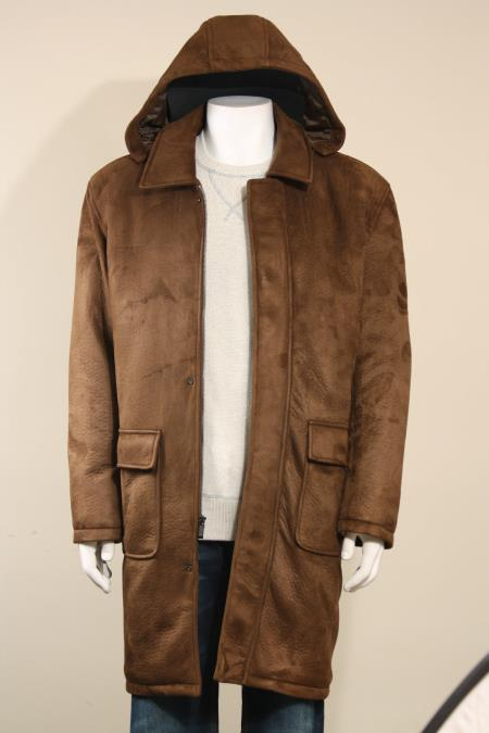 MensUSA Men's Faux Leather Heavy Long Coat With Removable Hood Overcoat Topcoat Brown at Sears.com