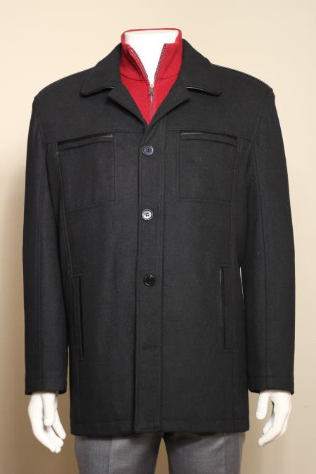 MensUSA Men's Wool Blend Fashion Jacket Coat Winter Light Fall Heavy Overcoat Topcoat Black at Sears.com