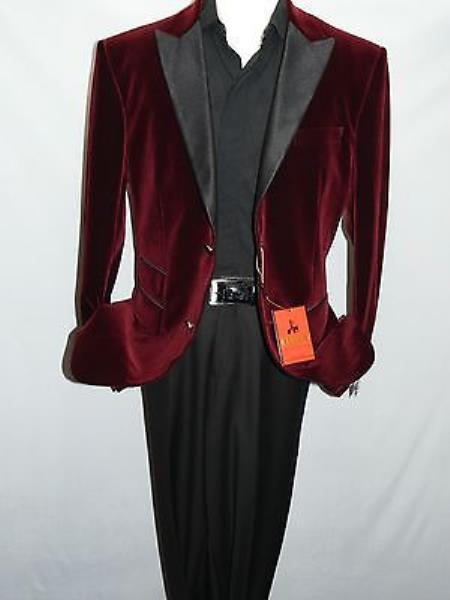 MensUSA Mens Burgundy Velvet Blazer Satin Peak Lapel Christmas Entertainer Burgundy at Sears.com