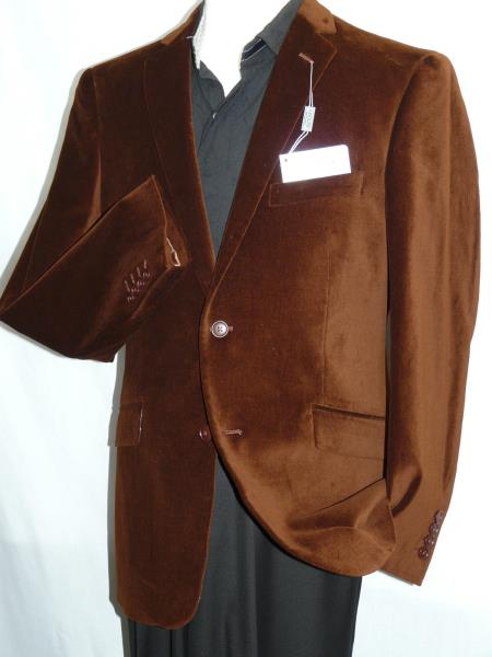 MensUSA Men's Adolfo Brown Velvet Blazer Dancing Jacket Formal or Casual Soft Cotton at Sears.com
