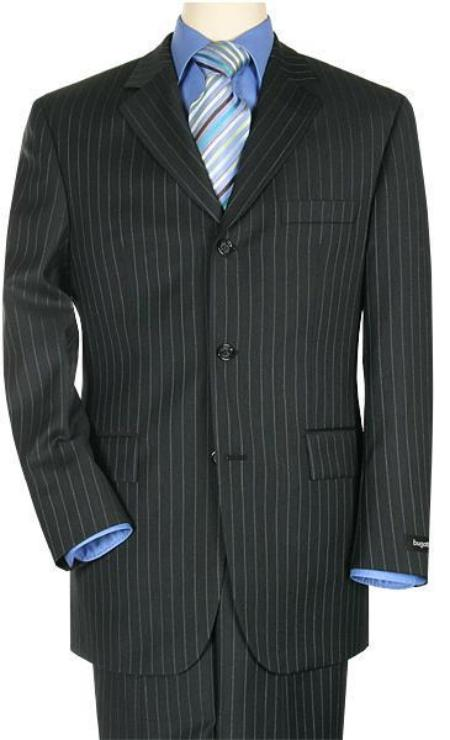 SKU# ZR3199 premier quality italian fabric Black Pinstripe Super 140s Wool 3 Buttons Mens Suit $225