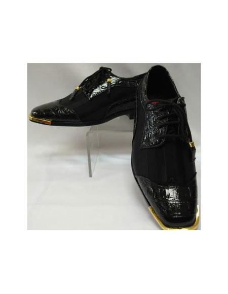 SKU#AF-485 Mens Cool Black Wingtip Style Satin Goldtip Dress Shoes $99