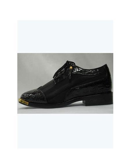 SKU#VT-421 Mens Cool Black Wingtip Style Satin Goldtip Dress Shoes