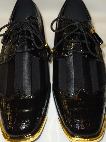 SKU#PK943 Mens Cool Black Wingtip Style Satin Goldtip Dress Shoes $99