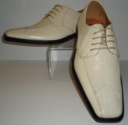 SKU#CK4572 Mens Creamy Ivory Modern Edgy Look Croco Embossed Dress Shoes $99
