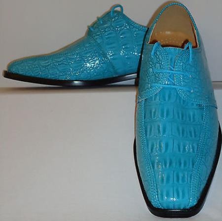 SKU#NQ4761 Mens Cool Teal Blue Cool Color alligator Look Dress Shoes $99