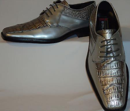 SKU#RE4875 Mens Metallic Silver Gray Super Elegant Faux Croco Dress Shoes $99