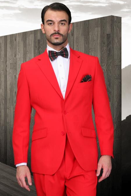 SKU#FR-15 Mens Red Suit 2 Button Super 120s Extra Fine 2 Piece