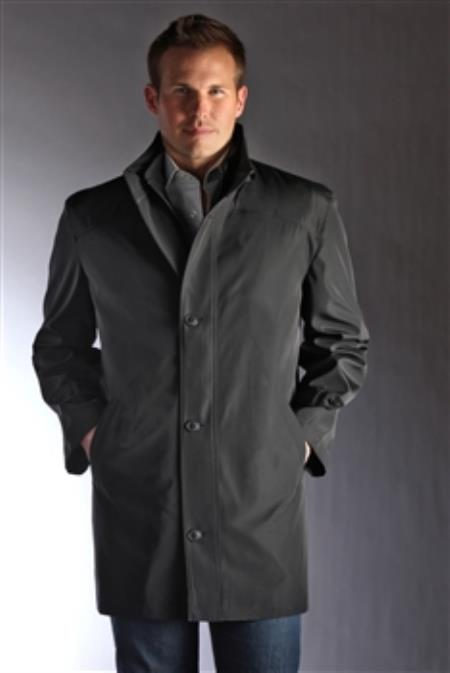 "SKU#D3-WQ Jean-Paul Germain Water-Repellent Single Breasted 34"" length Car Coat Black $150"