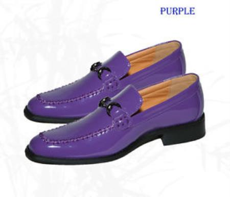SKU#RG-42 Mens Purple Color Dress Shoes Loafers/Slip On ~ Loafer Man-Made/Pattern Leather
