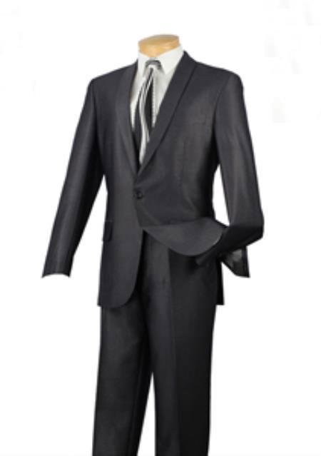 SKU#R8-JX Tapered Leg Lower rise Pants & Get skinny Mens 1 Button patterned Solid Shawl Lapel Slim Fit Suit Charcoal