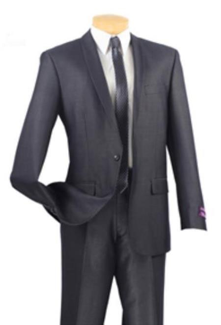 SKU#N4-CG Mens 1 Button Textured Solid Shawl Lapel Slim Fit Suit Blue $149