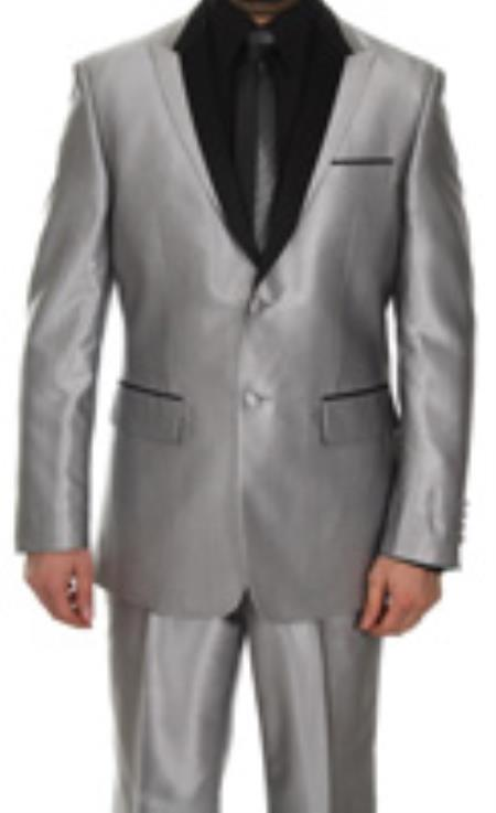 MensUSA.com Mens 2 Button Silver Shiny Tuxedo Slim Fit Suit(Exchange only policy) at Sears.com