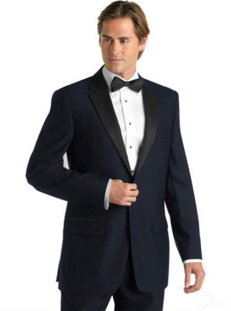 SKU#E-823 Midnight Navy Blue Deville Tuxedo with Contrasting Notch Lapel