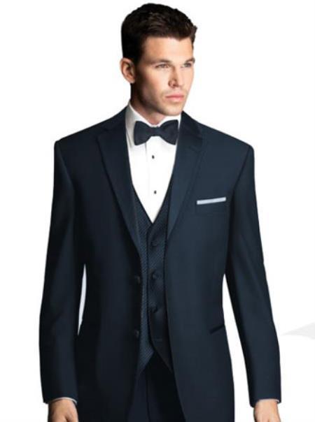 SKU#N-462 Midnight Navy Blue Tuxedo with Satin Framed Lapel