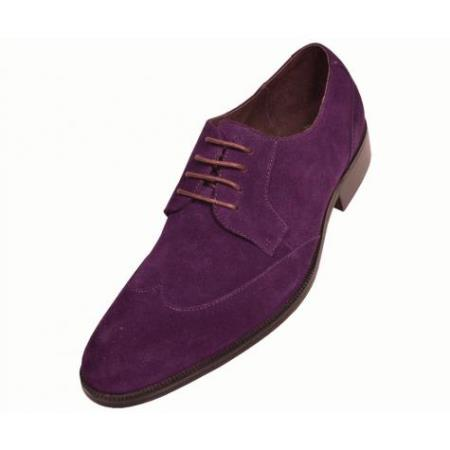 SKU#KA6398 Mens Purple Hand Made Leather Shoes $99
