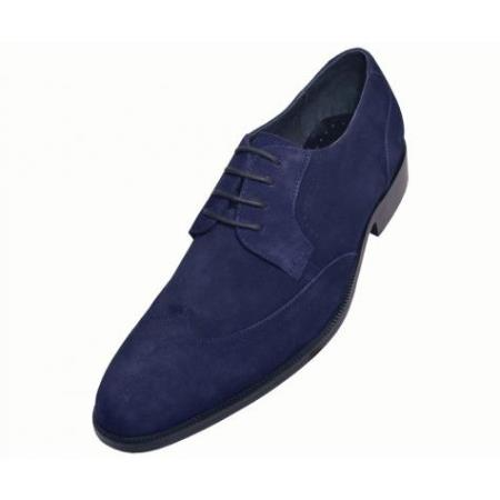 SKU#KA6931 Mens Navy Hand Made Leather Shoes $99