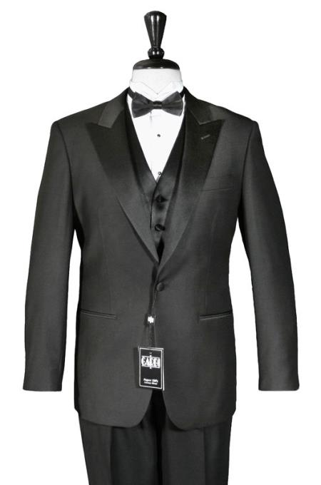 New Vintage Tuxedos, Tailcoats, Morning Suits, Dinner Jackets Mens 1Button Peak Tuxedo Black $245.00 AT vintagedancer.com