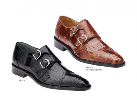 SKU#KT-48 Mens Genuine Ostrich Double Buckle Shoes Black, Brandy/Antique Brown $439