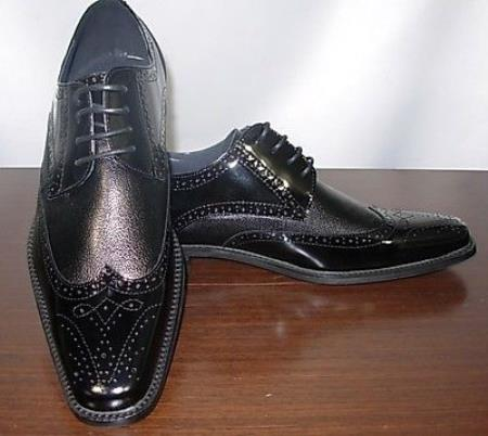 SKU#KA2897 Black Mens Leather Dress Shoe $99