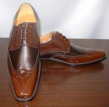 SKU#KA5440 Dark and Light Brown Mens Dress Shoe $99