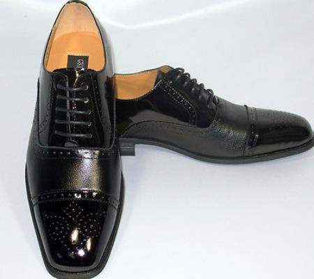 SKU#KA2078 Cap Toe Black Oxford Leather Dress Shoe $99