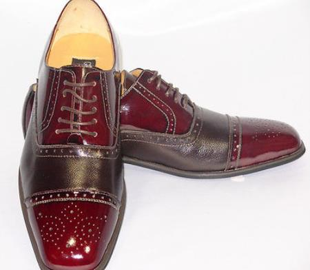 MensUSA.com Cap Toe Burgundy Oxford Leather Dress Shoe(Exchange only policy) at Sears.com