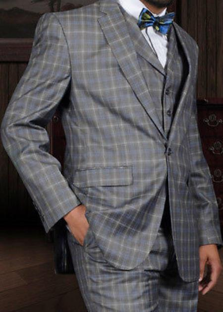 SKU#EU-26 Mens 3 Piece 1 Button Taupe or Indigo Windowpane Wool Business Suit Lapel Vest $199