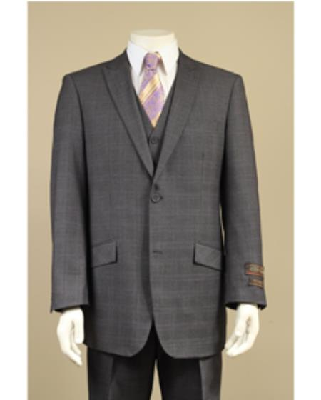 SKU#NR9289 Peak Lapel 2 Button Vested Window Pane Checks Glen Plaid Houndstooth Patterns 3 Piece Suit Black $225