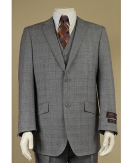 SKU#LN8416 Peak Lapel 2 Button Vested Window Pane Checks Glen Plaid Houndstooth Patterns 3 Piece Suit Grey $225