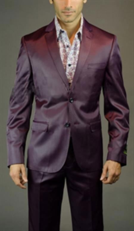 SKU#SM-01 Tapered Leg Lower rise Pants & Get skinny Mens 2 Button 3 Piece Shiny Burgundy ~ Maroon ~ Wine Color Slim Fit Suit