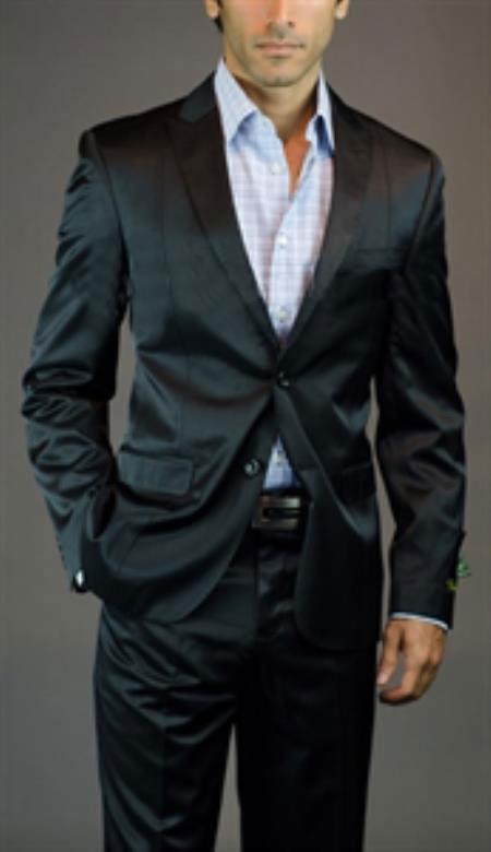 SKU#SM-02 Tapered Leg Lower rise Pants & Get skinny Mens 2 Button Shiny Black Peak Lapel Slim Fit Suit
