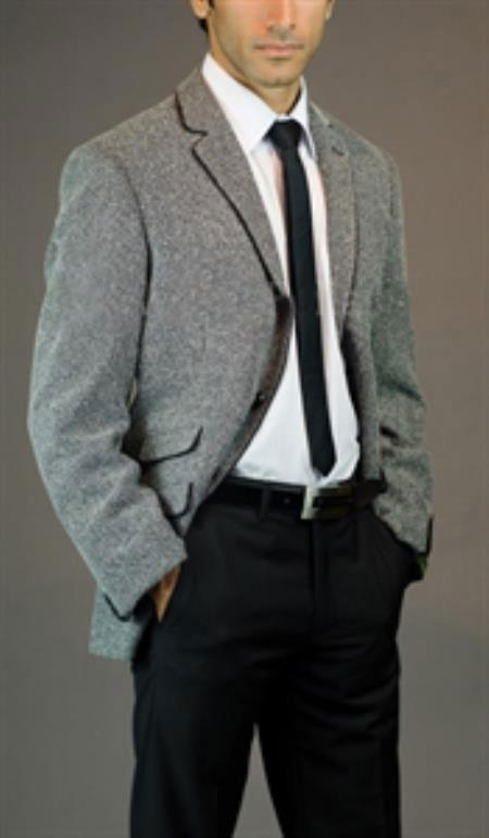 SKU#SM-03 2 Button Slim fit Salt and Pepper Suit with Piping $225