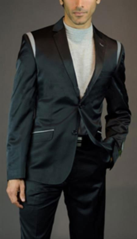 SKU#SM-05 Tapered Leg Lower rise Pants & Get skinny Mens 2 Button Shiny Black Slim Fit Suit $175