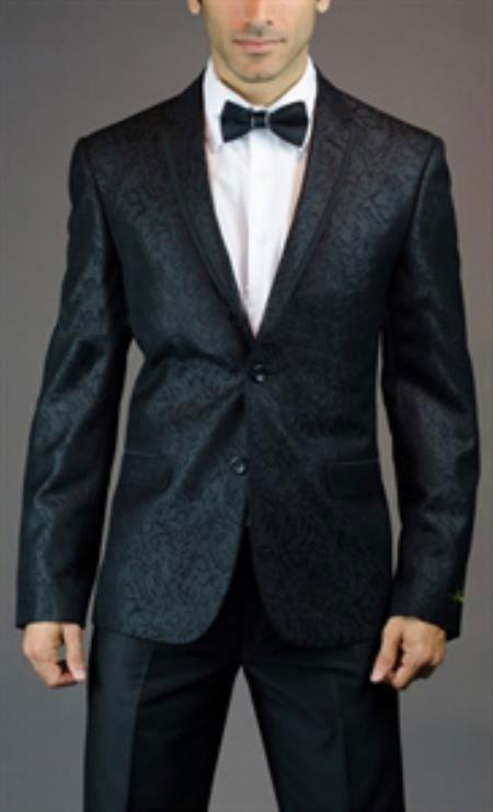 SKU#SM-06 Mens 2 Button Slim Fit Black floral Jacket with Taping $225