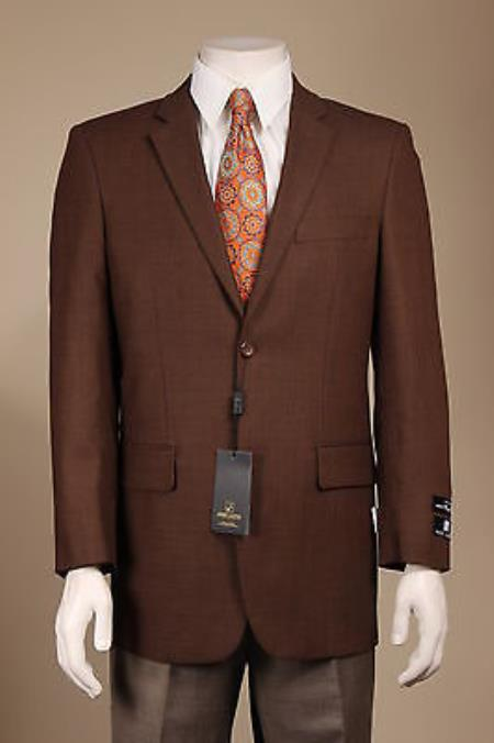 MensUSA.com New Men's 100% Wool 2 Button Sport Coat/ Sport Jacket/Blazer Jacket Brown(Exchange only policy) at Sears.com