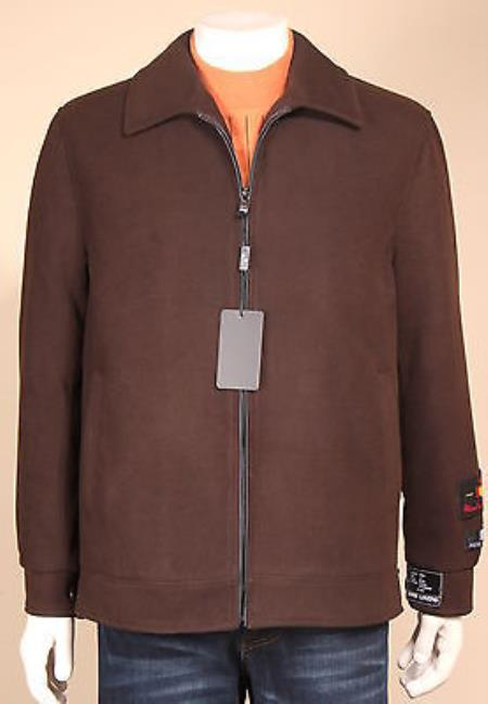 MensUSA Men's Wool Blend Fashion Jacket Coat Winter Light Fall Heavy Overcoat Topcoat Brown at Sears.com