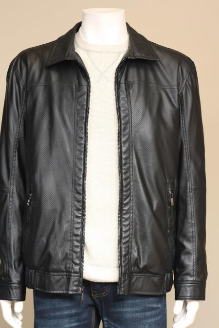 MensUSA Men's Faux Lamb Leather Jacket Topcoat Blazer Overcoat Fall Black at Sears.com