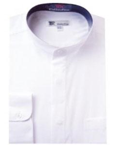 SKU#F-15G Mens Band Collar Dress Shirts White