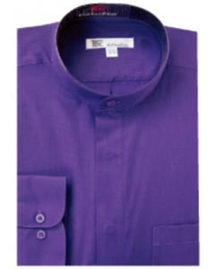 SKU#G-78K Mens Band Collar Dress Shirts Purple