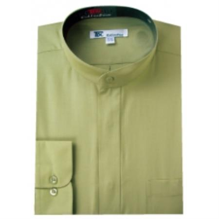 SKU#H-85Q Mens Band Collar Dress Shirts Olive $65