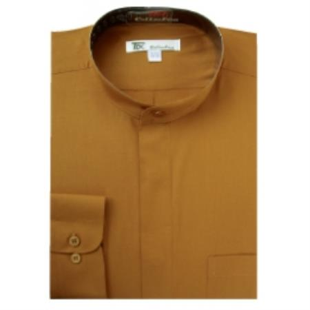 SKU#V-46R Mens Band Collar Dress Shirts Brown $65