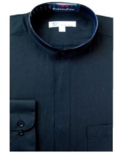 SKU#C-48F Mens Band Collar Dress Shirts Black