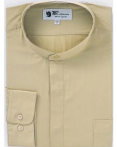 SKU#D-02G Mens Band Collar Dress Shirts Khaki