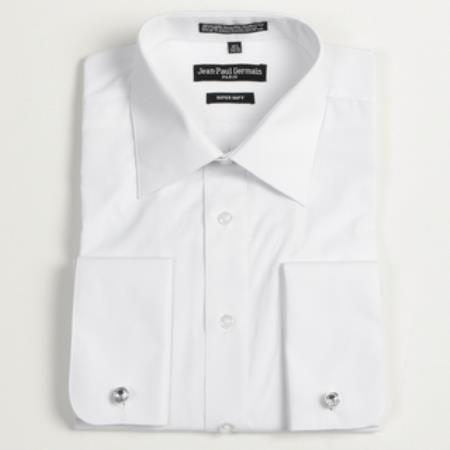 Men 39 s white french cuff big tall dress shirt for Big and tall french cuff dress shirts