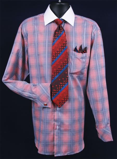 MensUSA.com Men's French Cuff Dress Shirt Set - Checker Pattern - Red(Exchange only policy) at Sears.com