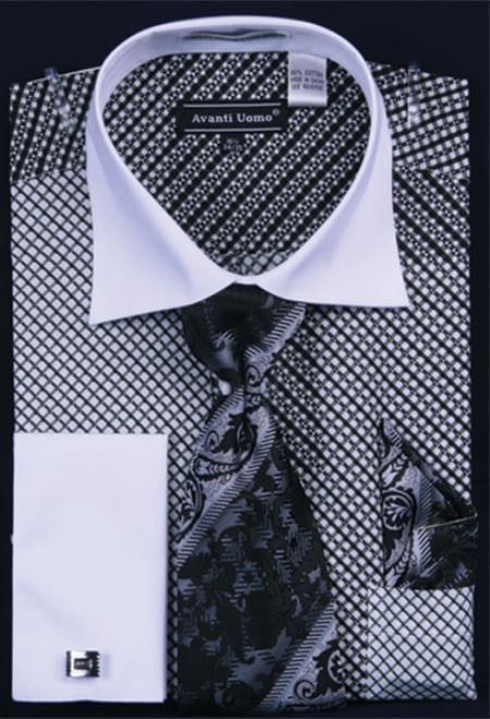 Sku ka6886 men 39 s big tall french cuff dress shirt set for Big and tall french cuff dress shirts