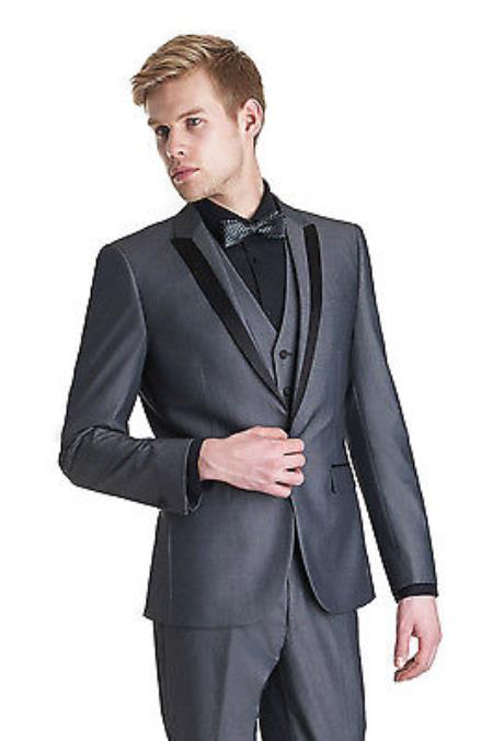 SKU#KA7230 Mens Charcoal Grey~Gray Wedding Groom Tuxedo Dinne Vested Suit With Black Lapel $595