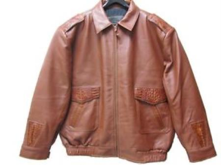 SKU#QR-4751 Genuine Caiman Hornback & Tail Jacket Cognac $1199